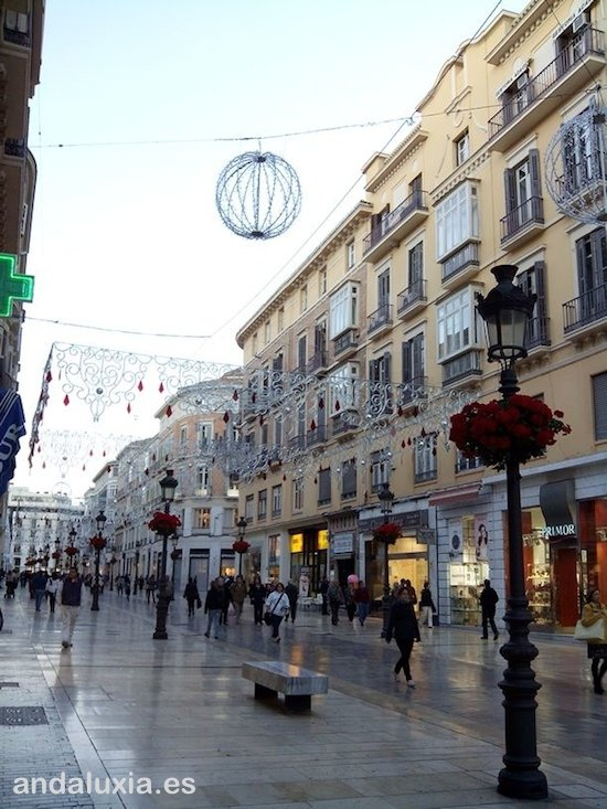 Calle Larios before Christmas lighting in Malaga 2013