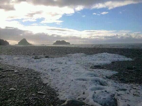 Nieve en las playas de Almuñecar