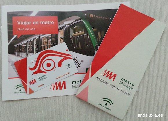 Guía de uso, plano y tarjeta -monedero del Metro de Málaga