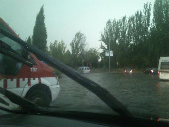 Rotonda Neptuno de Granada inundada